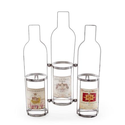 Väggen kan monteras trippel vinflaska Rack med Vintage etiketter