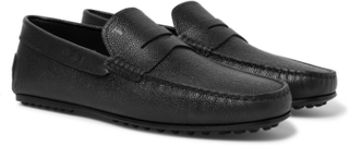 City Gommino Pebble-grain Leather Penny Loafers - Black