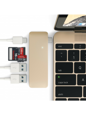 Hub, 2 x SuperSpeed USB 3.0 + 1 x SuperSpeed USB 3.0 (lataus), työpöytä USB hub - 3 porttia - USB 3.1 - Kulta