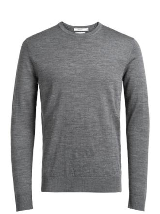JACK & JONES Merino Wool Knitted Pullover Men Grey