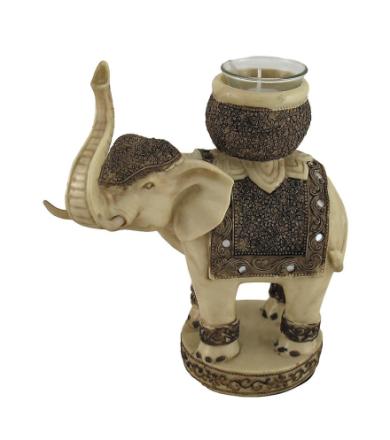 Zeckos Antiqued Finish elefant telys / Votive stearinlys holderen F...