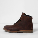 River Island Mens Brown leather lace-up work boots