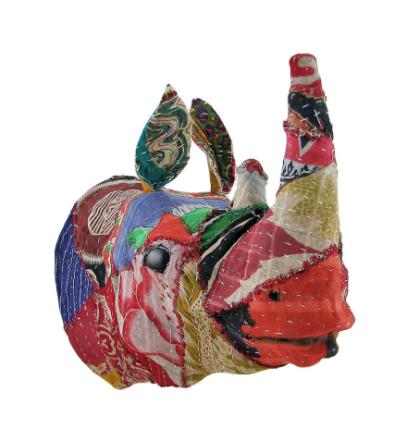 Resirkulert 12 tommers Fabric dekket Rhinoceros hodet Wall Mount Bust