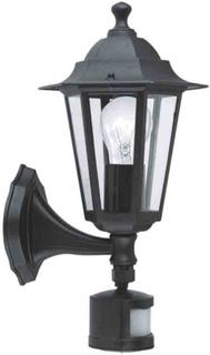 EGLO Utomhusvägglampa med sensor Laterna 4 60 W svart 22469