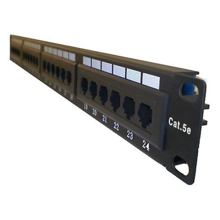 LMS DATA 1U 19 tommer bredt 24 Port UTP Cat 5E Patch Panel svart (P...