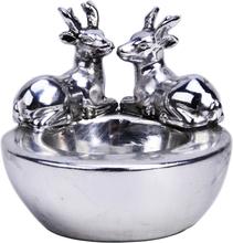 Ljuslykta 8x7,5 cm rådjur Silver