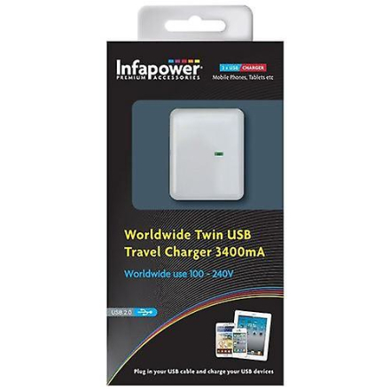 Infapower verdensomspennende Twin USB reise lader 3400mA (P024)