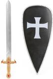 Svart riddarkit Sköld och svärd i plast barn One-s
