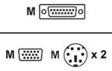 KVM-kabel SPHD15 han 2xPS / 2 h