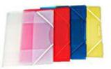 Gummibandsmapp plast 3-kl A4 transp/röd