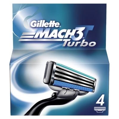Gillette Mach3 Turbo Partaterät 4 kpl