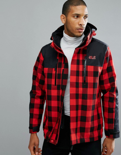 Jack Wolfskin Timberwolf 3 in 1 Jacket in Red Check - Red