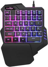 Yhden käden pelinäppäimistö valaistuksella - 7 RGB väriä