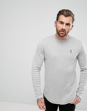 Religion Longline Knitted Jumper With Curved Hem -