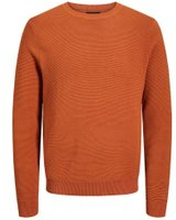 JACK & JONES Enfärgad Stickad Tröja Man Orange
