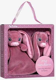 My Teddy gavebox - New born collection med nusseklud og rangle - Rosa