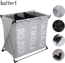 Laundry Basket Dirty Clothes Storage Basket Laundry Hamper Waterproof Oxford Cloth Three Grids Classified Basket in the Bathroom