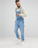 ASOS Denim Dungarees In Light Wash With Work Wear