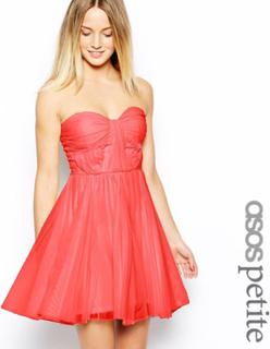 ASOS PETITE Bandeau klänning med vridna livstycket UK storlek 8 Rosa