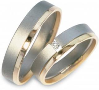 Flemming Uziel Förlovningsring Titan/14k Guld Diamant