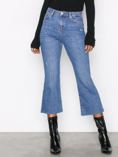 Topshop Moto Kick Flare Jeans Bootcut & Flare Mid Blue