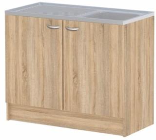 Casa vask med underskabe - egestruktur træ og zink