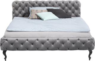 KARE DESIGN Desire Velvet seng - grå polyester/massiv eg (180x200)