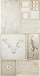 KARE DESIGN Nature Skull vægdekoration - creme træ/stål (230x120)