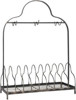 IB LAURSEN tallerkenholder - grå metal, m. 6 kroge, passer til 9 tallerkner, (54x21cm)