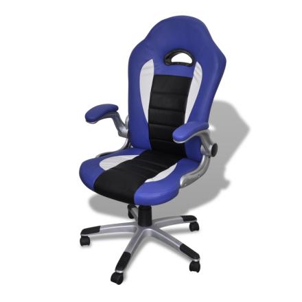 vidaXL Kontorsstol konstläder blå