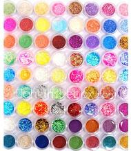 72 värit glitter nail art koriste yhdistelmä