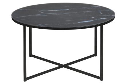 Almaz sofabord i glass med svart marmorprint, Ø 80 cm.