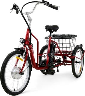 Trehjulig elcykel - 6 växlar - Metallic röd