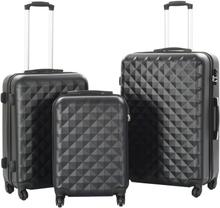 vidaXL Hårda resväskor 3 st svart ABS