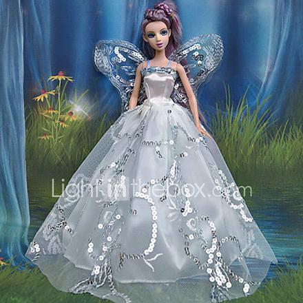 Barbie-nukke valkoista pitsiä Enkelin siipi mekko