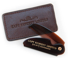 Captain Fawcett Folding Pocket Moustache Comb med läderfodral