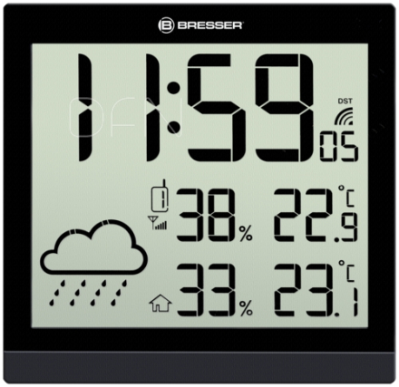 Bresser TemeoTrend JC black LCD Weather Wall Clock