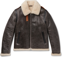 Acne Studios - Shearling-lined Textured-leather Jacket - Brown - XXL,Acne Studios - Shearling-lined Textured-leather Jacket - Brown - S,Acne Studios - Shearling-lined Textured-leather Jacket - Brown - XS,Acne Studios - Shearling-lined Textured-leather Jac