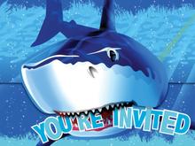 Inbjudningskort Blå haj Youre invited - 8 st