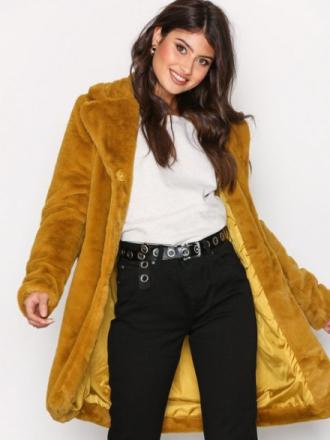 Object Collectors Item Objviolet L/S Faux Fur Coat Au A Faux Fur Orange