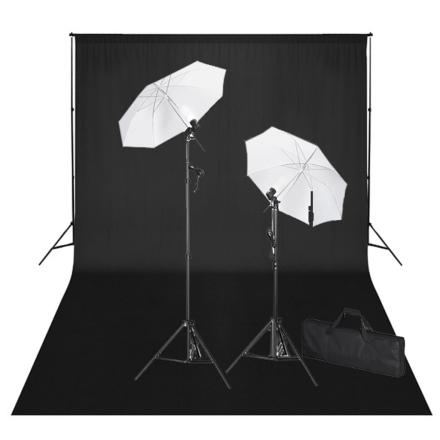 vidaXL studiosæt med sort fotobaggrund og lamper 600 x 300 cm