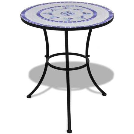vidaXL Mosaikkbord 60 cm Blå/ Hvit