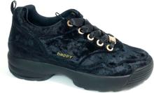 Happy Shoes World stylish Chunky Sneakers sammet, svart