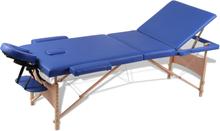 vidaXL Hopfällbar massagebänk med 3 sektioner träram blå