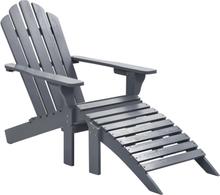 vidaXL havestol med ottoman træ grå