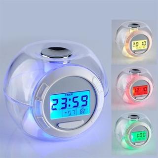 Vækkeur med LED/7 Farver & Lyd