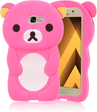 Samsung Galaxy A5 (2017) silikondeksel /m søt 3D bjørn - Varm rosa