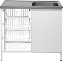 Contura CAB 10 Tvättbänk vit, med förvaringsskåp och 3 trådbackar Höger