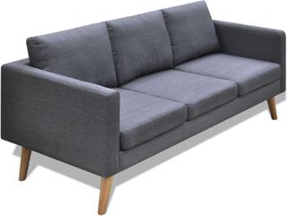 vidaXL sofa 3-pers. sofa stof mørkegrå