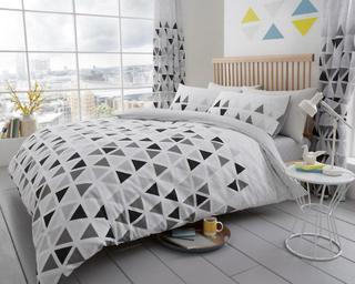 Linenstar Geo trekant trykt dynetrekk Quilt sengetøy sett sengetøy ...